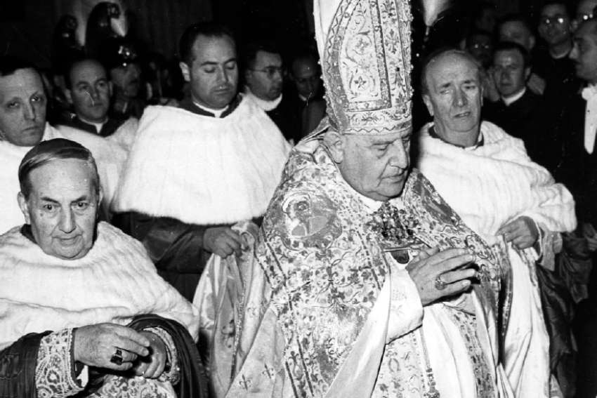 Blessed John XXIII prays after his election in 1958.