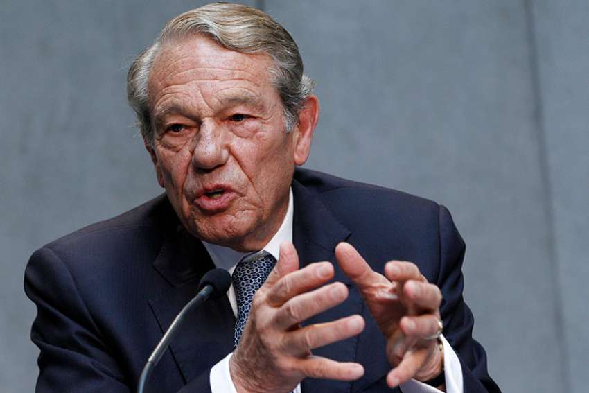 Joaquin Navarro-Valls, who served as director of the Vatican press office from 1984-2006, speaks during a Vatican press conference in this 2014 file photo. He died July 5.
