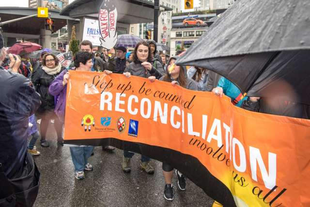 Participants took part in a circle dance on Yonge and Dundas Streets in Toronto May 31 to mark the end of the Truth and Reconciliation Commission's inquiry on residential schools in Canada.