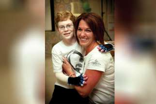 Jonathan Pitre and his mother, Tina Boileau.