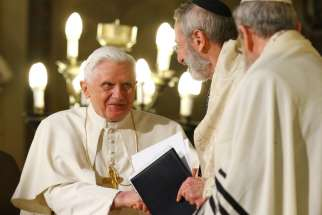 Pope Benedict XVI greets Rabbi Riccardo Di Segni, the chief rabbi of Rome, during his visit to the main synagogue in Rome in this Jan. 17, 2010, file photo. Pope Francis will visit the same synagogue Jan. 17, 2016.