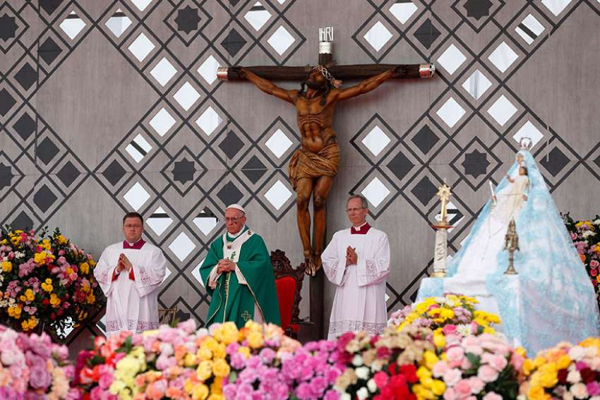 Pope Francis celebrates Mass at Contecar terminal in Cartagena, Colombia, Sept. 10.