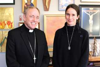 Pro-life activist Mary Wagner with Vancouver Archbishop J. Michael Miller.