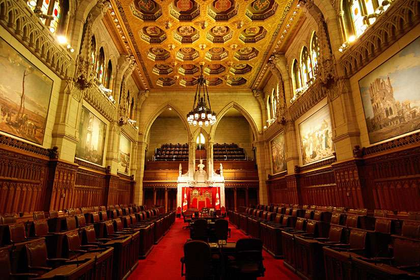 An undated photo of the Canadian Senate chamber. The senate voted on June 9 to get rid of certain criteria to make assisted suicide more accessible.