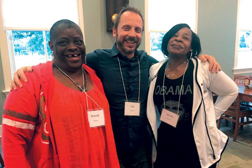 Ted Penton, centre, has been leading retreats for the homeless in the United States and Canada through the Ignatian Spirituality Project. Photo courtesy Ignatian Spirituality Project.