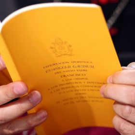 A copy of the apostolic exhortation Evangelii Gaudium (The Joy of the Gospel) by Pope Francis is seen during a news conference at the Vatican Nov. 26. In his first extensive piece of writing as Pope, Pope Francis lays out a vision of the Catholic Church dedicated to evangelization, with a focus on society's poorest and most vulnerable, including the aged and unborn. Reaction has been positive from Canadians like Jesuit Father Bill Ryan and theologian Catherine Clifford.