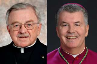 Bishop Fred Henry, left, the long time head of Calgary's diocese, has resigned due to health reasons. Peterborough's Bishop William McGrattan will take his place.