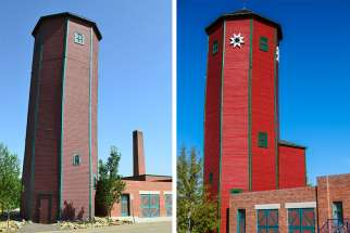 The water tower at St. Mary's University has been restored (right) to its former glory.