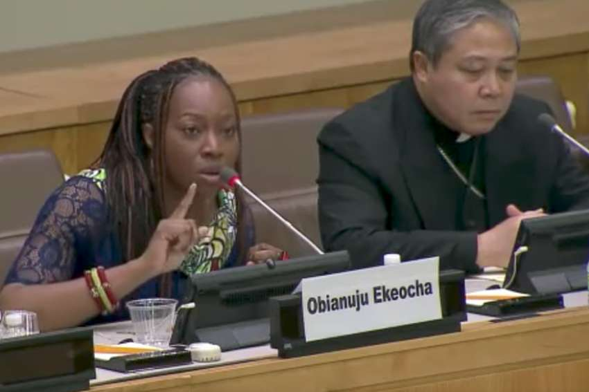 Obianuju Ekeocha speaking at a United Nations conference hosted by the Holy See on maternal health care and the authentic needs of African women Mar. 17, 2016.