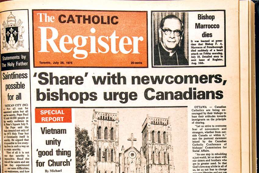 The cover of 'The Catholic Register' on July 26, 1975.
