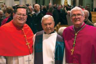 Msgr. Peter Coughlin, middle, is joined by Cardinal Gerald Cyprien Lacroix, Archishop of Quebec and Primate of Canada, and by Hamilton Bishop Douglas Crosby, right, at Christ the King Cathedral in Hamilton this past March. The occasion was a special service to mark Coughlin's elevation to Monsignor.