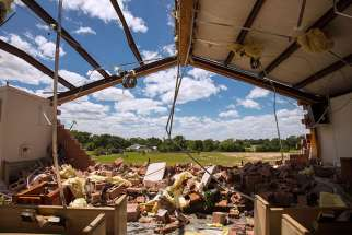 St. John the Evangelist church in Emory, Texas, is seen April 30 after a tornado hit the area a day earlier.