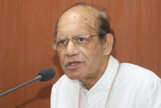 "Cardinal Oswald Gracias of Mumbai, president of Catholic Bishops Conference of India, speaks during a news conference in early February in Bangalore. India's Catholic Church has led a chorus of protest over a demand to ban the sacrament of reconciliation from the chairwoman of the National Commission for Women. He called the demand ""absurd and it displays ignorance about the sacrament of confession."""