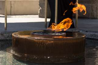 The eternal flame in the Nathan Phillips Square Peace Garden.