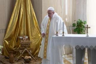 Pope Francis celebrates Mass Jan. 7 in the chapel of his residence, the Domus Sanctae Marthae.