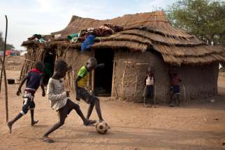Children play soccer in 2014 at a camp for displaced people in Minkamman, South Sudan. Pax Christi International, the Catholic peace movement, said it will build up young people to contribute to peace and justice in Africa, noting that children are the continent's greatest resource.