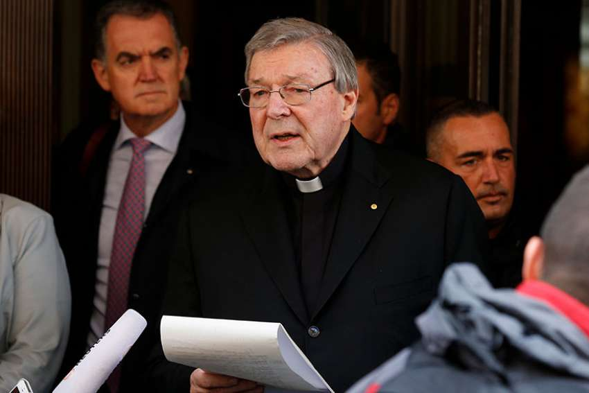 Australian Cardinal George Pell reads a statement to media March 3, 2016.  Public prosecutors have submitted recommendations to Victoria Police on whether to try Australian Cardinal Pell on decades-old abuse allegations, but their advice has not been made public.