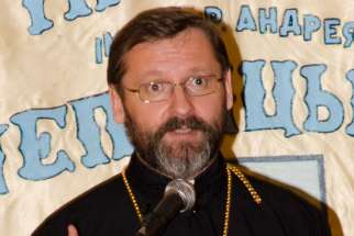 Major Archbishop Sviatoslav Shevchuk, head of the Ukrainian Greek Catholic Church, addresses a crowd in Toronto May 2.