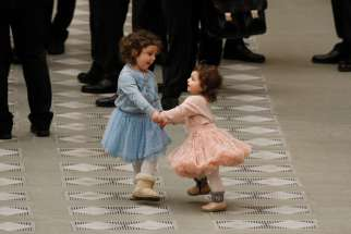 Dancing, even without music, is always a good thing, as these two girls showed at the Vatican earlier this year while Pope Francis greeted people during his general audience.
