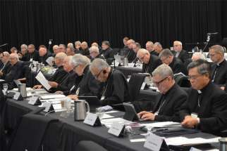 Canadian bishops attend their 2019 annual plenary meeting in Cornwall, Ontario. This year's assembly will get underway virtually Sept. 21.