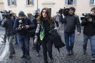 "Italian laywoman Francesca Chaouqui, arriving for the third hearing of the""VatiLeaks"" case at the Vatican Dec. 7, 2015. On July 4, Vatican lead prosecutor asked the court give Chaouqui a three years and nine months jail-term."