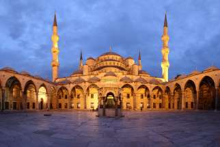 A panoramic view of the courtyard of the Blue Mosque, in Istanbul, Turkey.