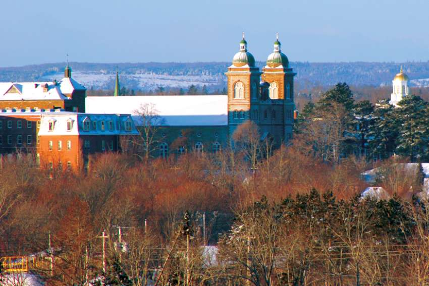 The Antigonish skyline has long featured the towers of St. Ninian's Cathedral, left, and St. Francis Xavier University. The Nova Scotia diocese is marking its 175th anniversary.