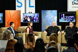 Emilie Callan, middle, served as a host of the National Youth Forum organized by Salt and Light TV in Nov. 2017.