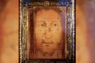 The Holy Face of Manoppello is pictured on display at the shrine in Manoppello, Italy. Devotees believe the cloth was one of the burial shrouds that covered the face of Jesus in the tomb.