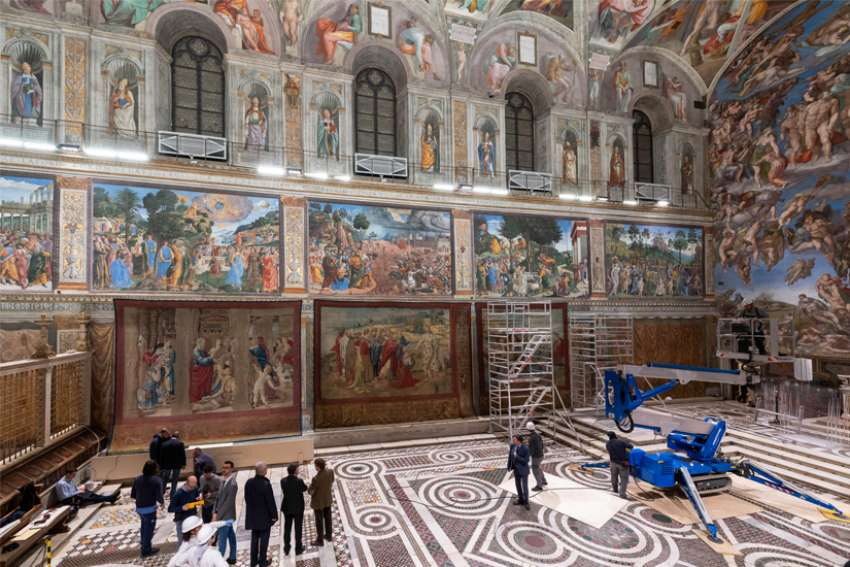 Tapestries designed by Renaissance master Raphael are pictured after being hung on a lower wall in the Sistine Chapel at the Vatican Feb. 16, 2020. Ten enormous tapestries by Raphael are on display for one week in celebration of the 500th anniversary of his death in 1520.