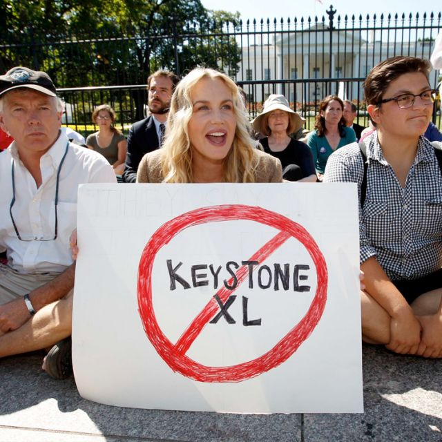 Actress Daryl Hannah protests with others in front of the White House in Washington against the proposed Keystone XL pipeline last August.