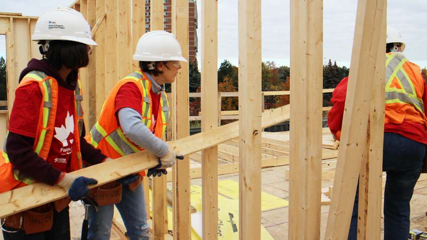 Habitat for Humanity's Women of Faith Build drew 44 women to help build a home in Scarborough.