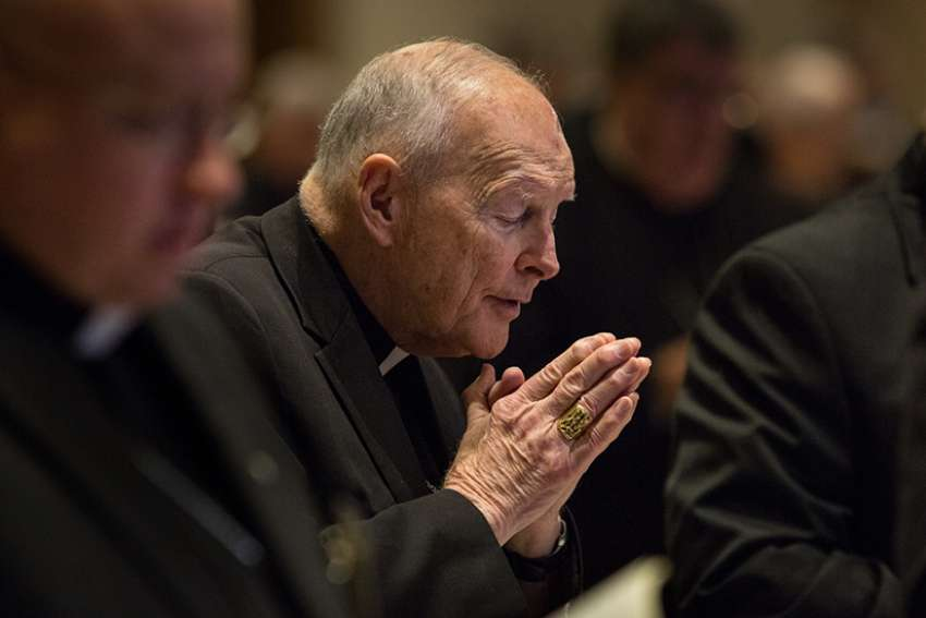 Cardinal Theodore E. McCarrick, retired archbishop of Washington, attends the morning prayer June 11, 2015, during the spring general assembly of the U.S. Conference of Catholic Bishops in St. Louis.