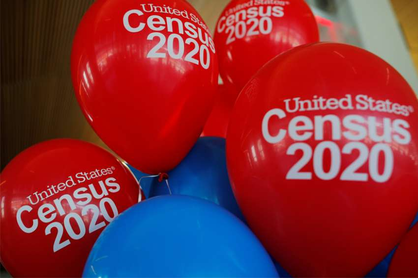 Balloons decorate an event for community activists and local government leaders to mark the one-year-out launch of the 2020 census efforts in Boston April 1, 2019.