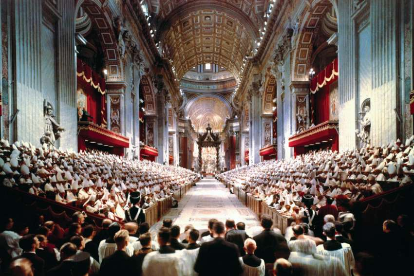 Pope John XXIII leads the opening Mass of the Second Vatican Council in St. Peter's Basilica at the Vatican Oct. 11, 1962. A total of 2,540 cardinals, patriarchs, archbishops and bishops from around the world attended the opening session.