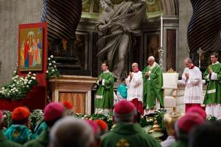 Pope Francis celebrates the closing Mass of the Synod of Bishops on the family in St. Peter's Basilica at the Vatican Oct. 25.