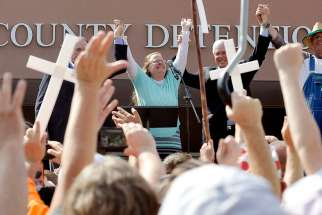 Kim Davis, a Rowan County, Ky., clerk, celebrates her release Sept. 8 from the Carter County Detention center in Grayson, Ky. The Vatican Sept. 30 did not deny reports that while in Washington, Pope Francis briefly met with Davis, who was jailed for refusing to issue marriage licenses to same-sex couples.