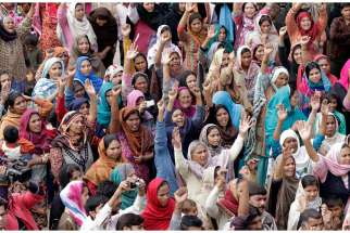 Pakistani Christians protest March 16 in the aftermath of two suicide attacks that targeted two churches in Lahore.