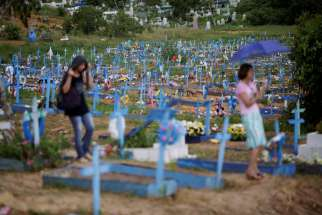 A general view of Trauma cemetery is seen in Manaus, Brazil, Jan. 4, during the funeral of one of the inmates who died in a Jan. 1-2 prison riot.