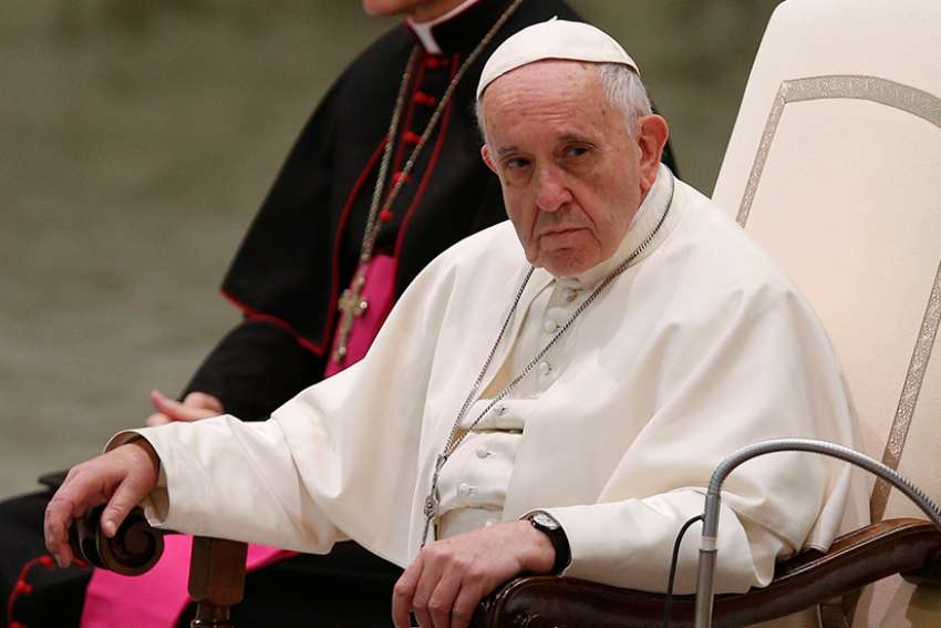 Pope Francis leads his general audience at the Vatican Jan. 10.