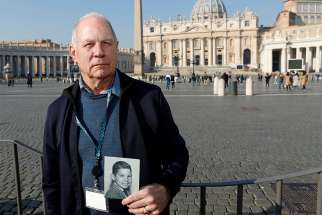 Tim Lennon, board president of Survivors Network of those Abused by Priests, or SNAP, poses in St. Peter's Square at the Vatican Feb. 20, 2019.