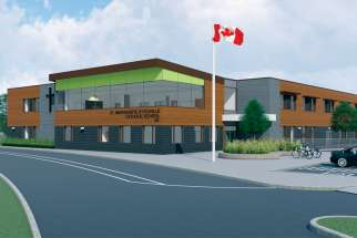 An artist's drawing of the new St. Marguerite d'Youville Catholic School that will be built in Whitby, Ont.