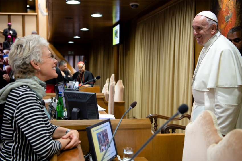 Cristiane Murray, a Brazilian journalist who has worked with Vatican Radio-Vatican News, was tapped by Pope Francis to serve as vice director of the Vatican Press Office. Murray is pictured talking with the pope in an undated photo.