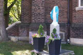 A statue of Mary was vandalized outside of Our Lady of Lebanon Church in the Parkdale area in the early hours of Aug. 30.