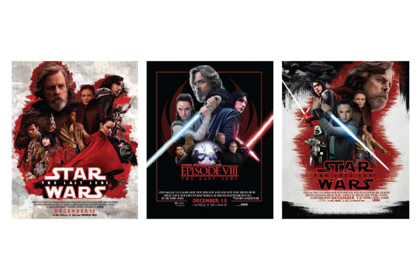 Justin Gregorio's poster design, left, was featured at the Canadian premiere of Star Wars: The Last Jedi along with Erick Vengaf (middle) and Jimmy Huynh (right).