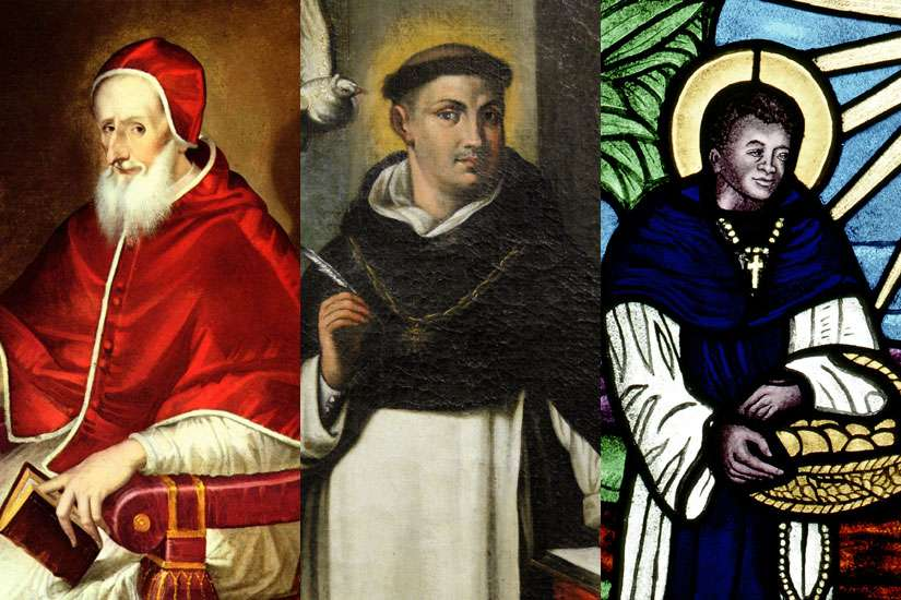Pope Pius V, left, St. Thomas Aquinas, centre, and St. Martin de Porres were all members of the Dominican order.