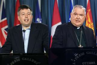 Alex Schadenberg, left, and Winnipeg Archbishop Richard Gagnon.