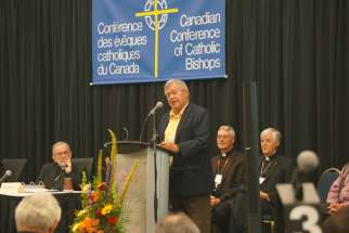 Irving Papineau, a Mohawk from Akwesasne, addressed the Canadian bishops Sept. 27 on the Church response to the TRC's Calls to Action.