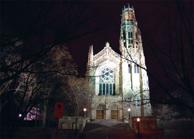 Although it make look like no lights are on there certainly was someone home at Hamilton's Cathedral Basilica of Christ the King on March 28 for 24 hours straight.