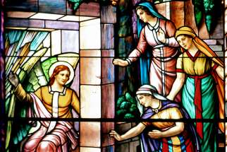 The Women at the Empty Tomb is depicted in this stained-glass window by artist Guido Nincheri at Notre Dame Cathedral in Ottawa, Ontario.